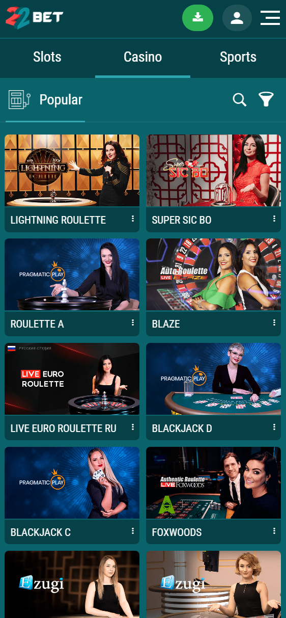 the online casino layout at 22bet looks great on mobile devices