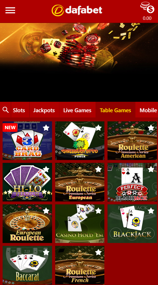 Overview of the table games that you can find on Dafabet