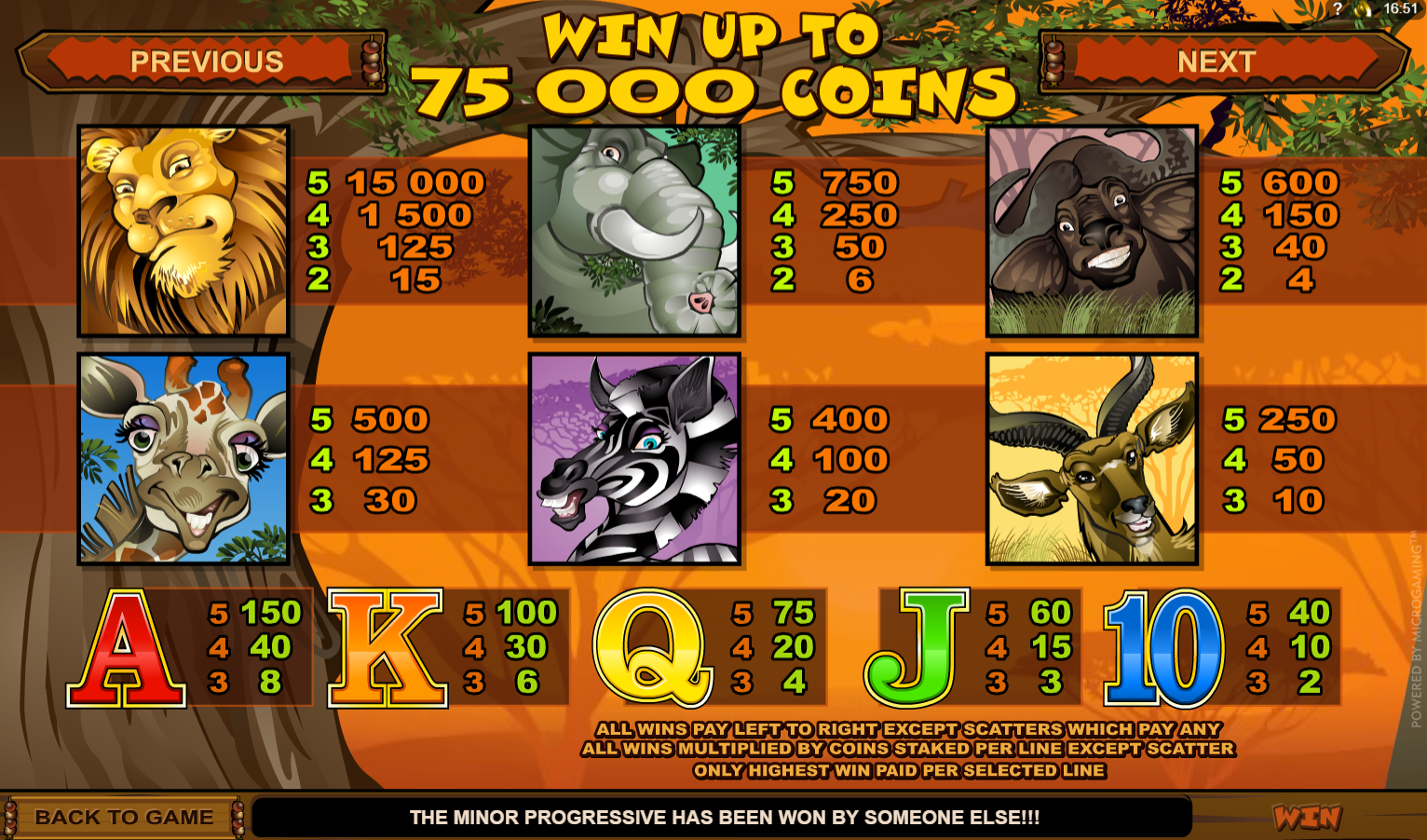 Different symbols and payouts on mega moolah