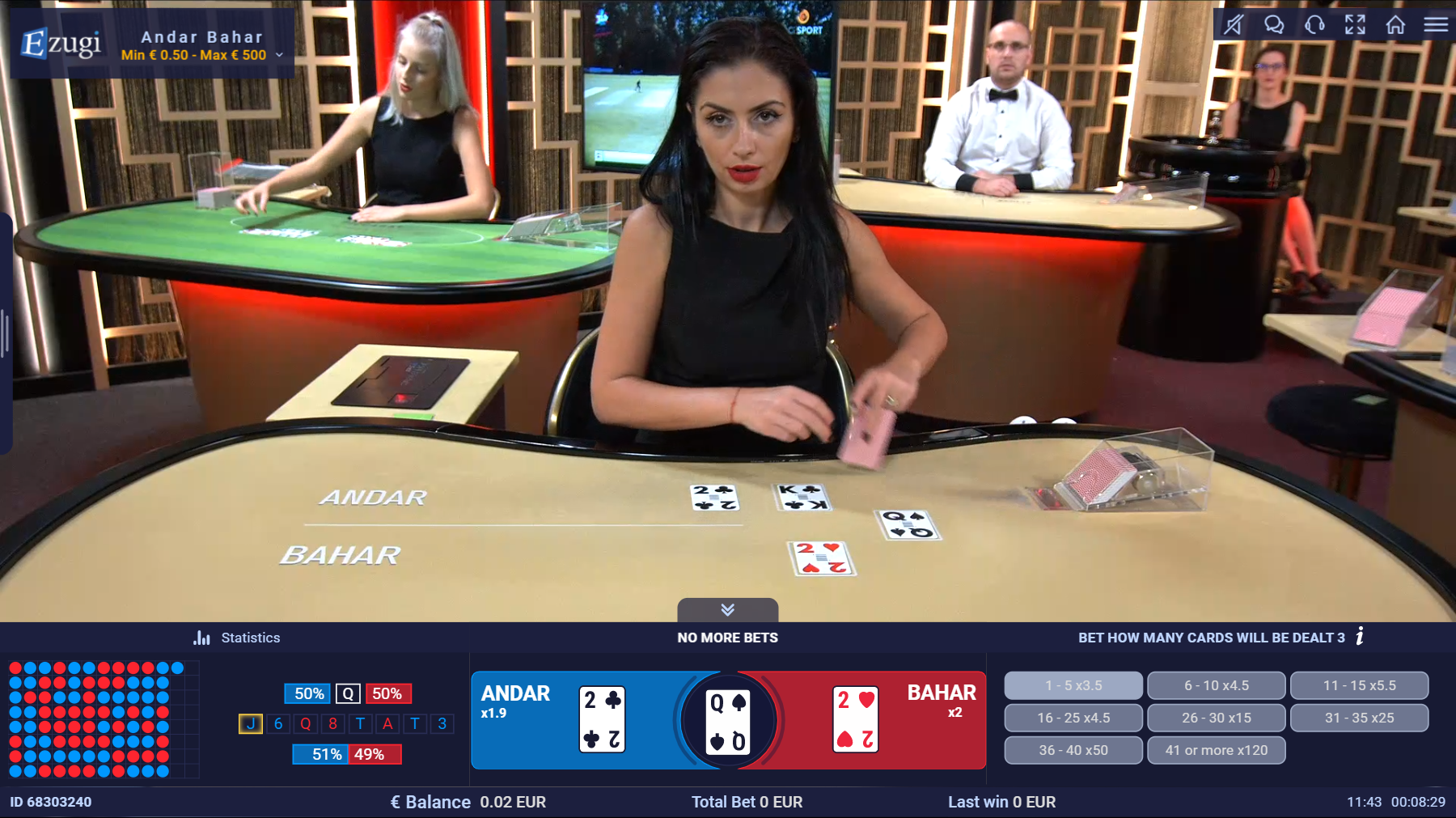 Andar Bahar being played on Live-casino