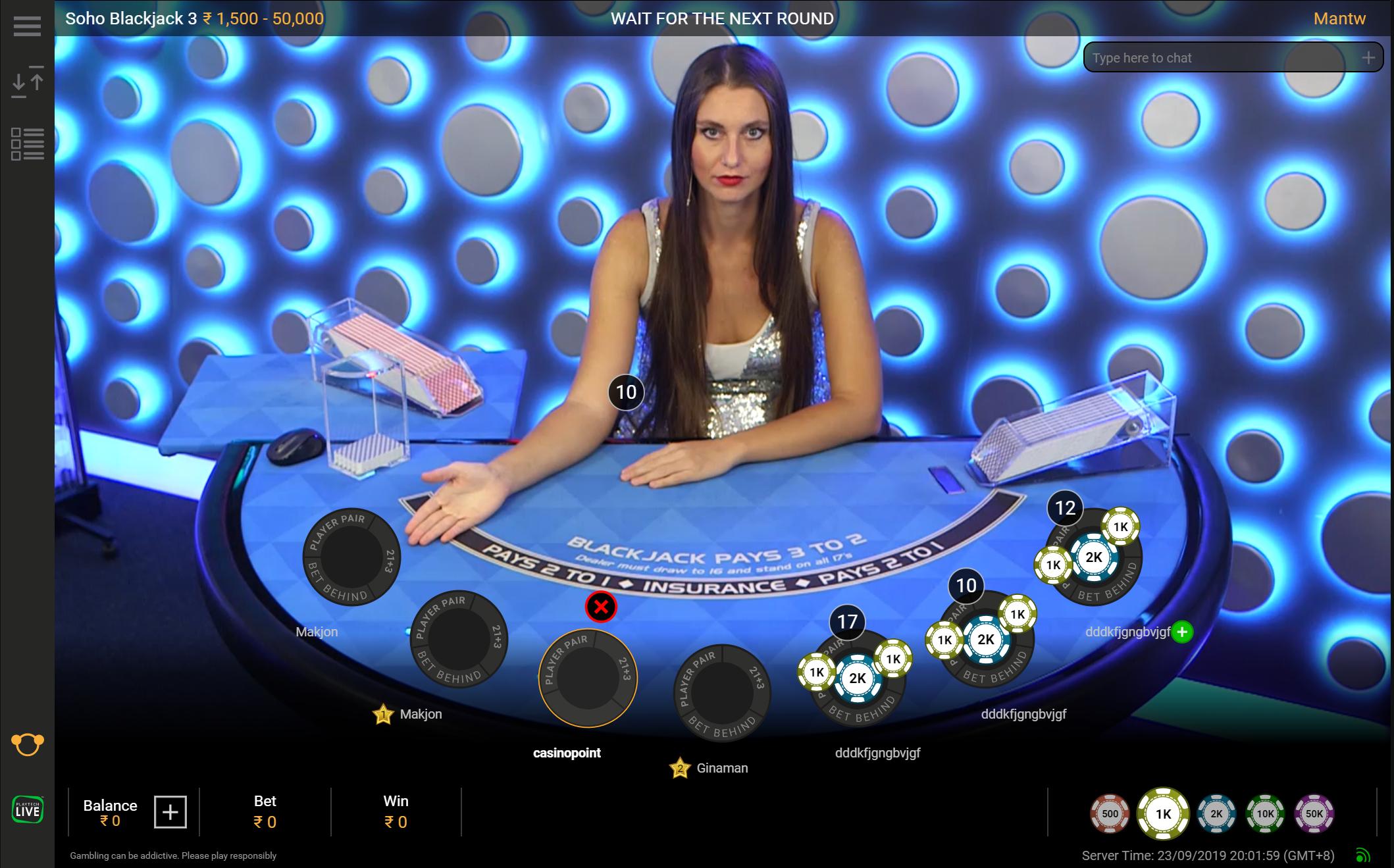 Live blackjack table on Dafabet