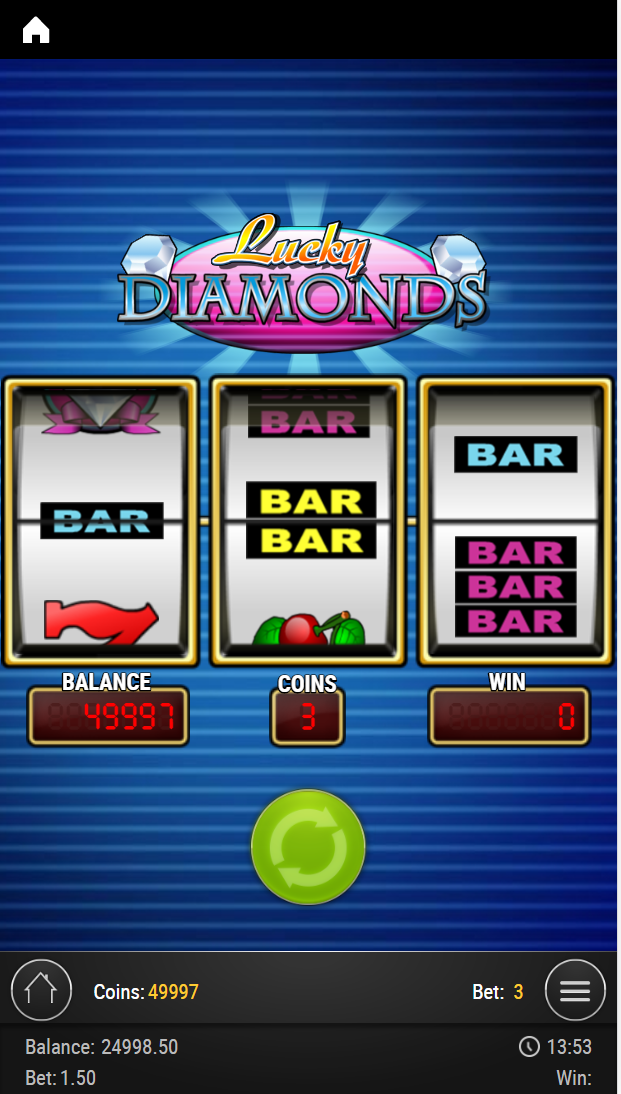 A classic slot called Lucky Diamonds being played on a mobile phone.
