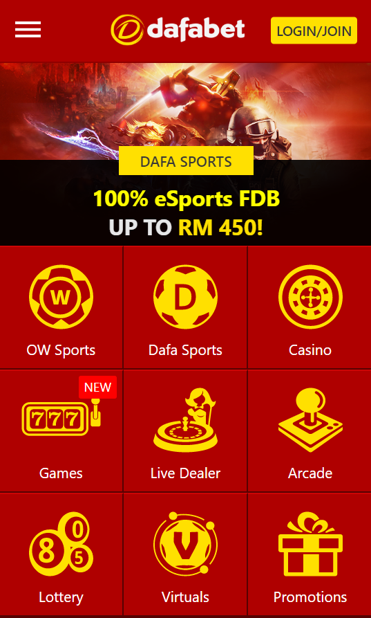 Mobile layout of Dafabets homepage. Overview of different games