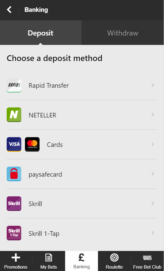 Different deposit methods you can use at Betway