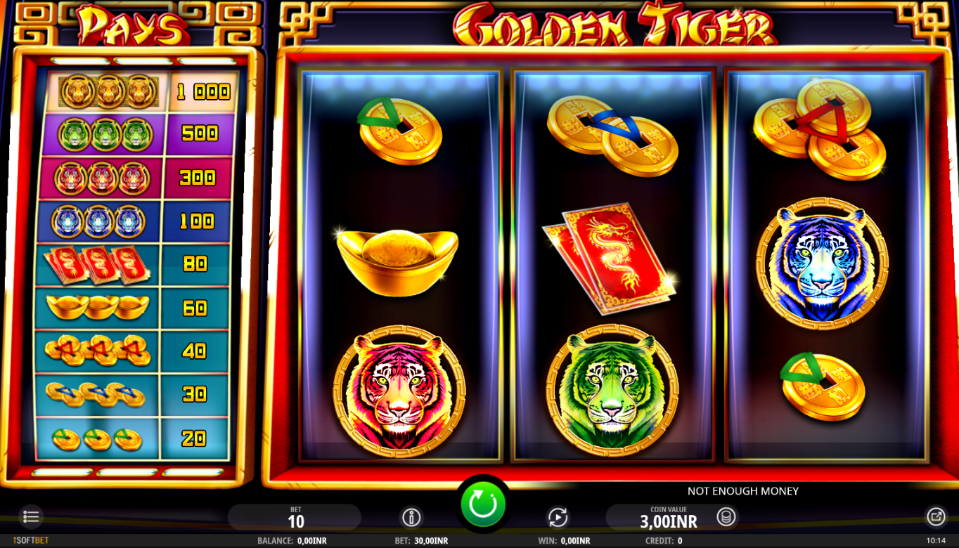the online casino slot Golden Tiger played on mobile