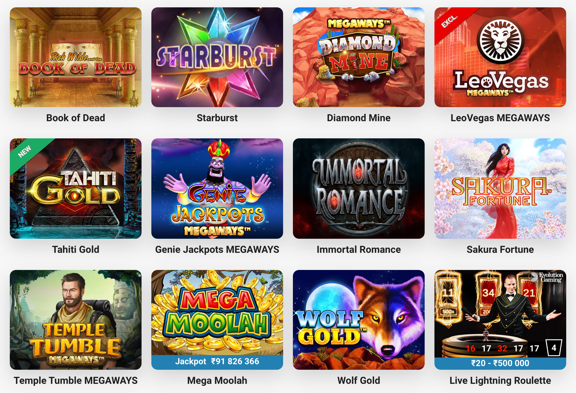 Picture of top online casino games at LeoVegas