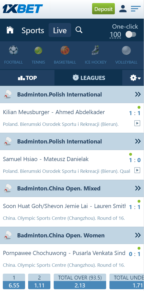 Live-bet section on 1xBet, this picture is taken with a mobile phone.