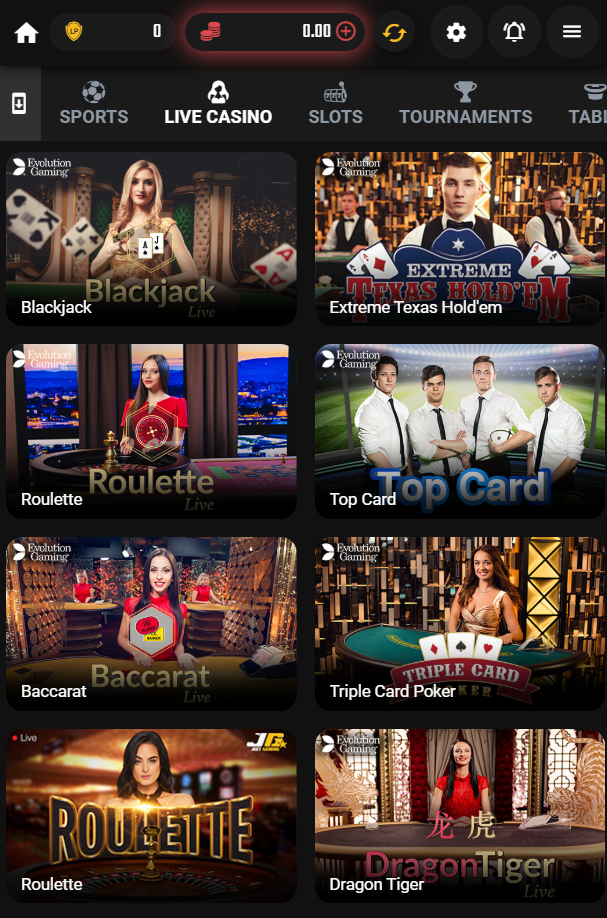 live casino section at JeetWin on a mobile