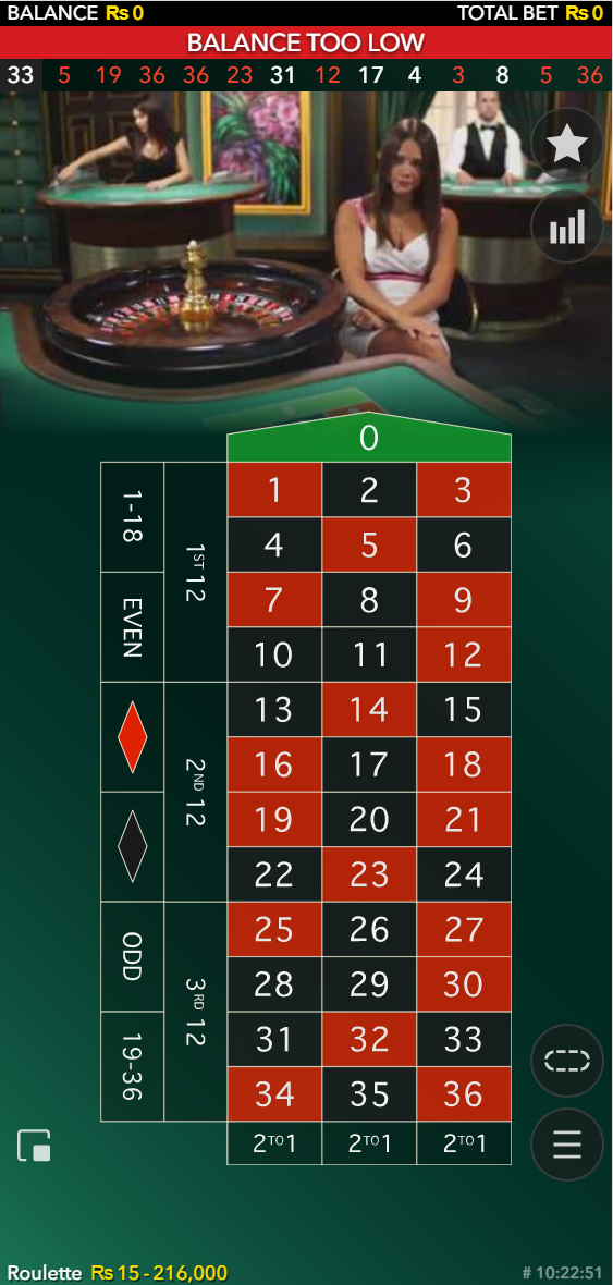live roulette played on mobile