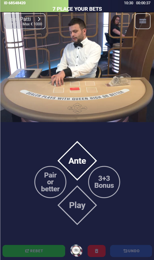 Live-version of Teen Patti played on mobile at the online casino ShowLion