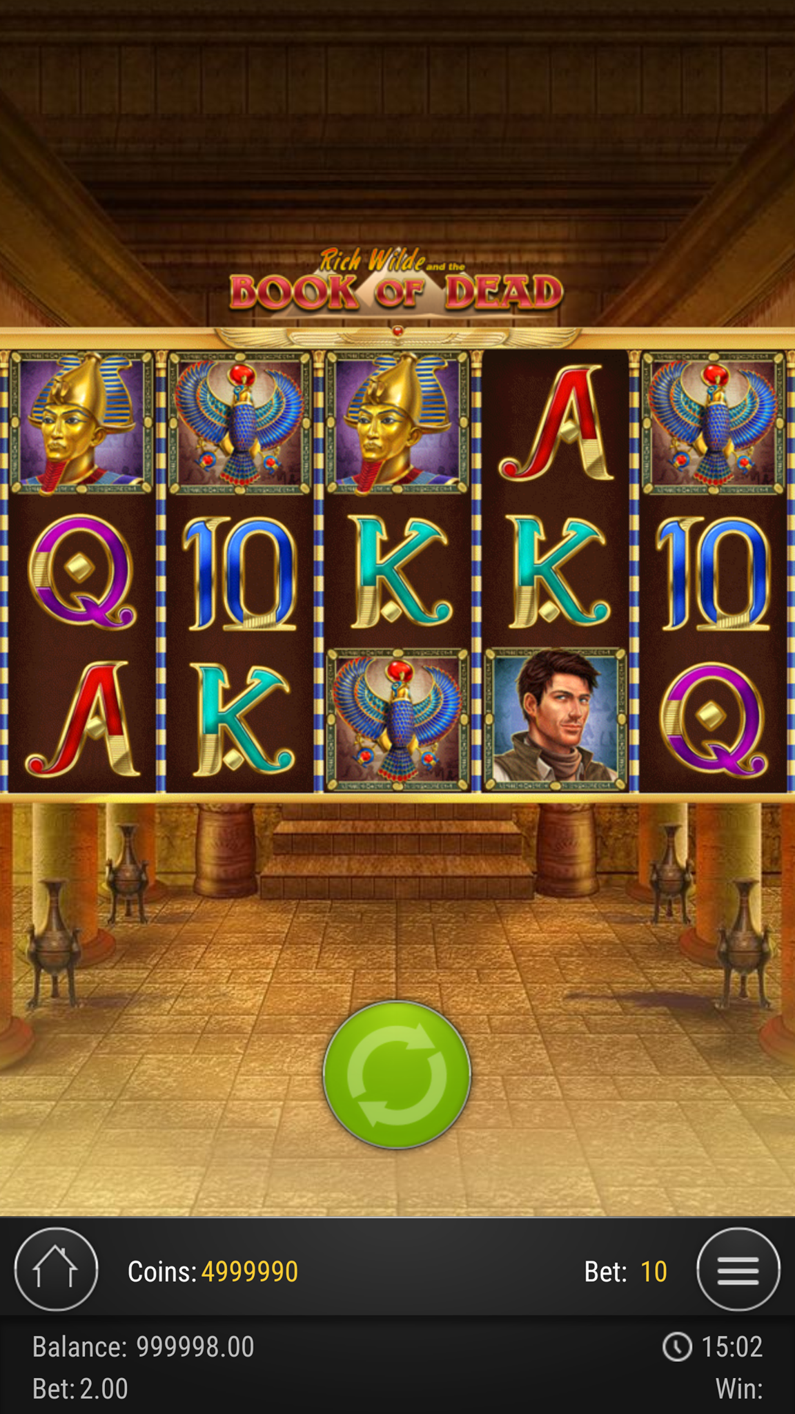 Online casino slot Book Of Dead being played on a mobile