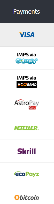 Screenshot of all the different payment methods at 10CRIC.