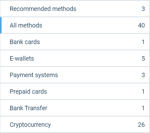 Picture of all the different payment methods 1xbet accepts from India