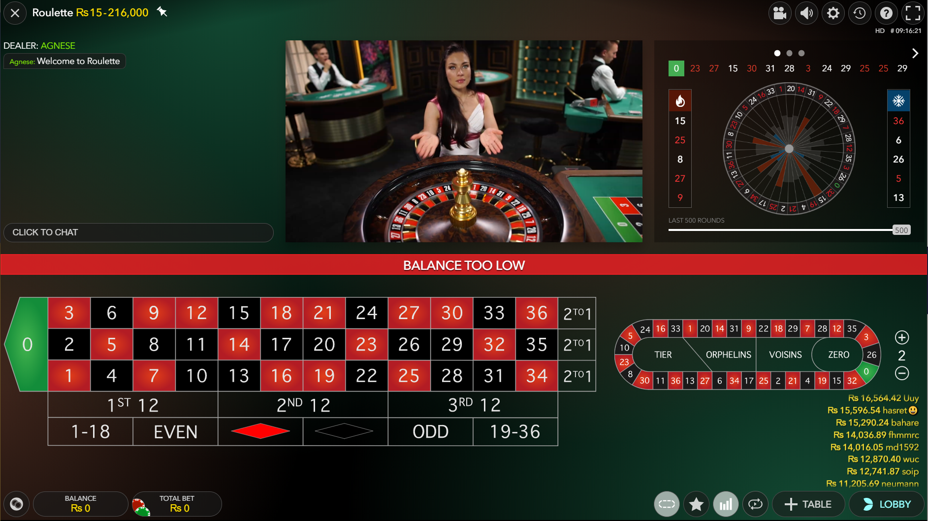 live roulette on casino played with a classic view