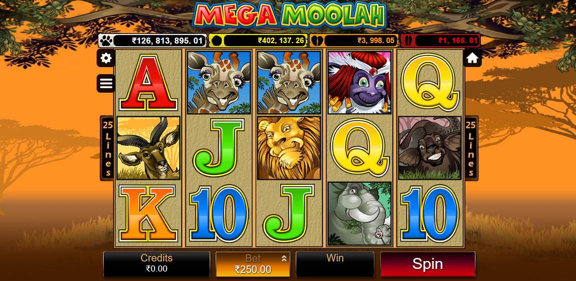 The online casino slot Mega Moolah being played on mobile at 10CRIC Casino.