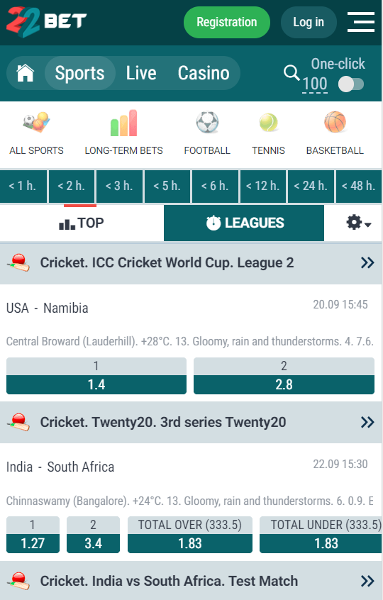 how the layout at 22bet looks on mobile