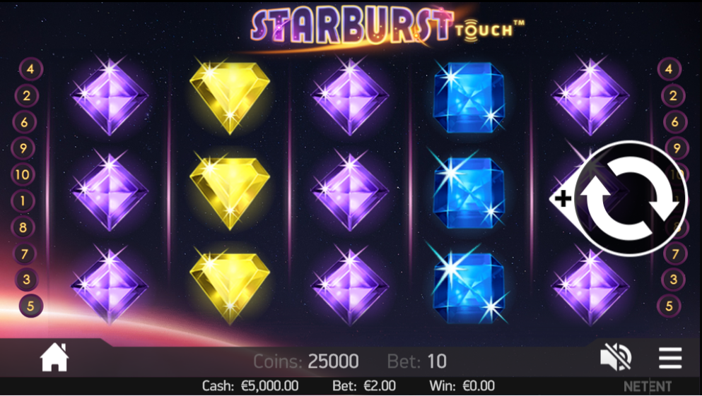 Starburst being played on a mobile at an LeoVegas Casino
