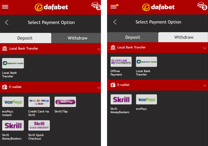 Different deposit and withdrawal methods available at Dafabet
