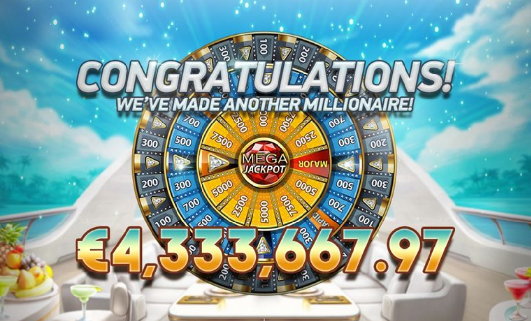 Picture of jackpot on €4,333,667.97 being paid out to a lucky winner