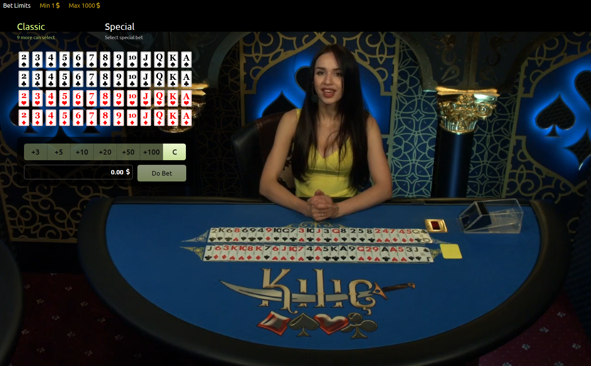 Live table game Kilic use all 52-cards each round. Here the dealer show all cards used in Kilic.