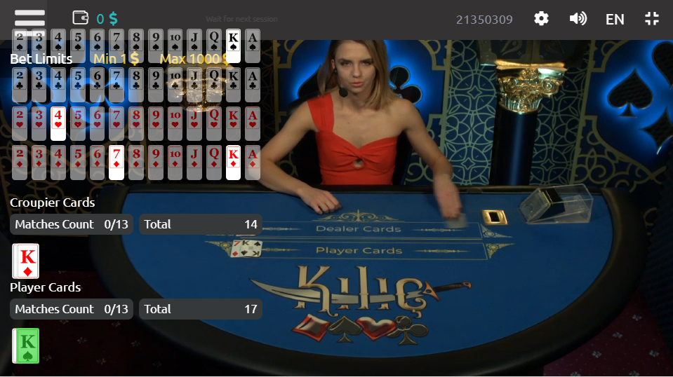 Kilic being played live on mobile at the online casino 1xbet