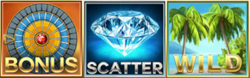 Picture of the 3 special symbols on Mega Fortune Dreams. The Wild, scatter, and bonus symbol