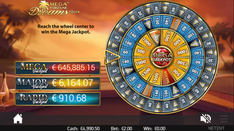 This is a screenshot of how the wheel looks like in the bonus game on Mega Fortune Dreams