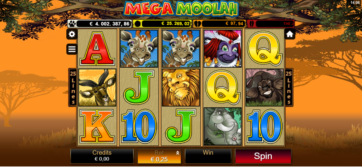Mega Moolah being played at the online casino LeoVegas on a mobile