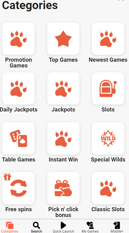Casino Categories section on a mobile device at LeoVegas