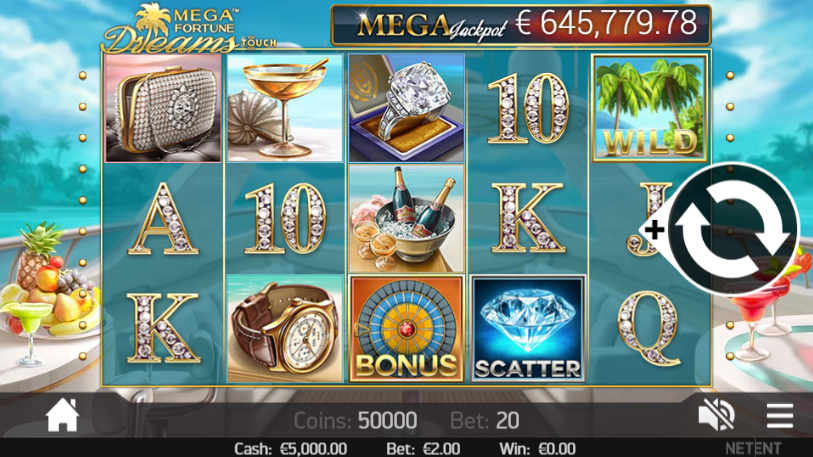 Screenshot of Mega Fortune Dreams being played on a mobile at an online casino.