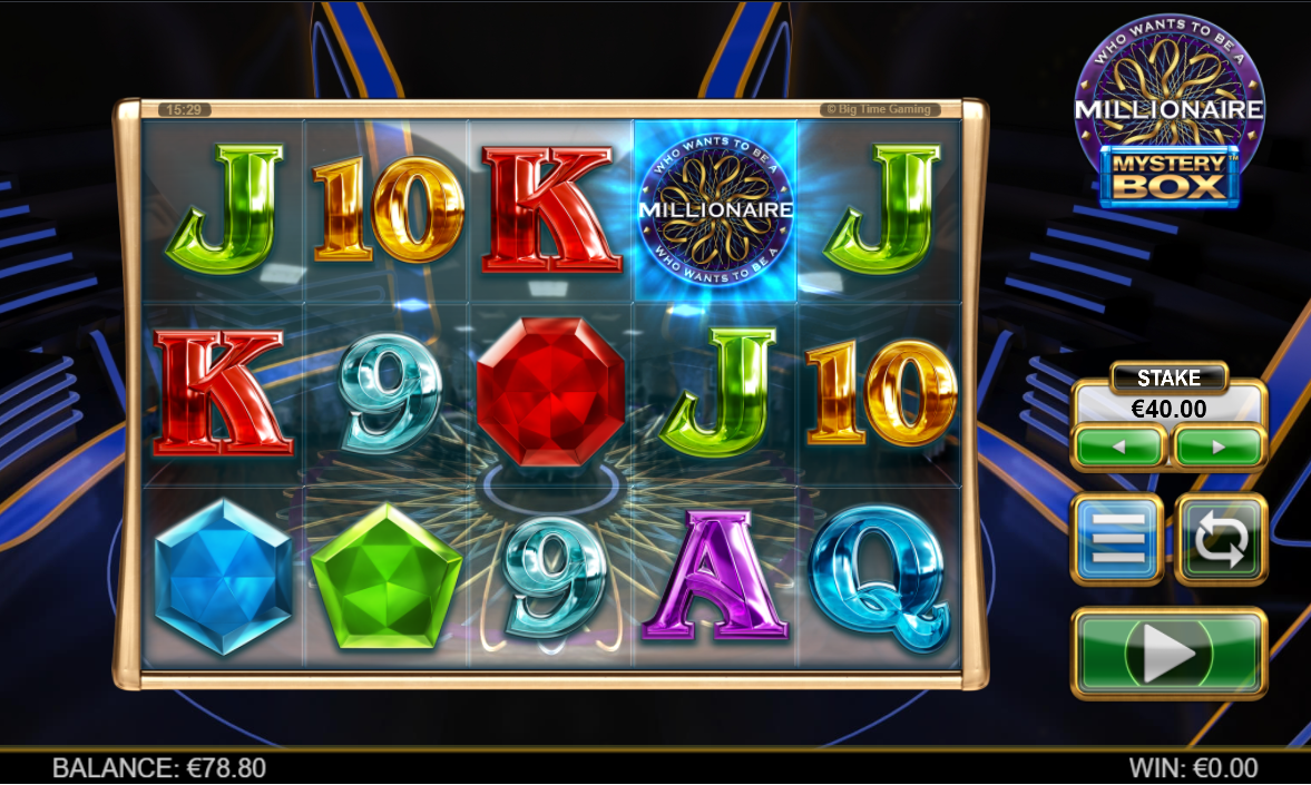 The new online casino slot Millionaire Mystery Box being played at Rizk
