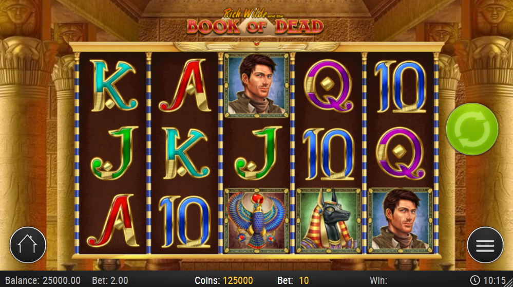 Book of Dead being played in the online casino at Casumo, looks good when played on mobile directly in the browser