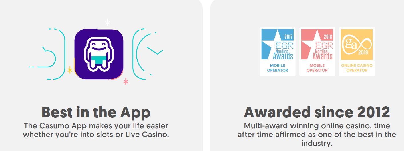 Casumo got their own dedicated mobile application and have won multiple awards since 2012