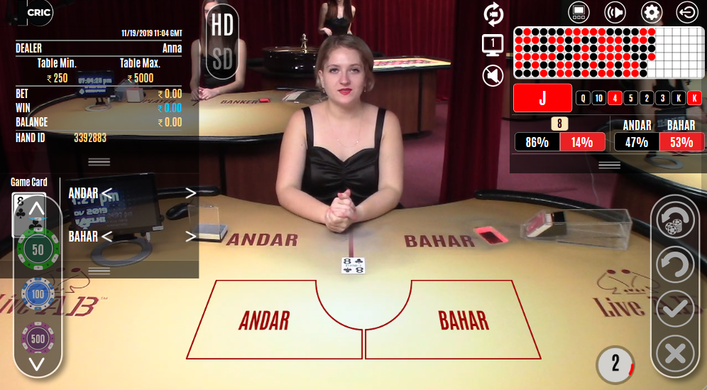 Andar Bahar being played at 10CRIC on a computer desktop