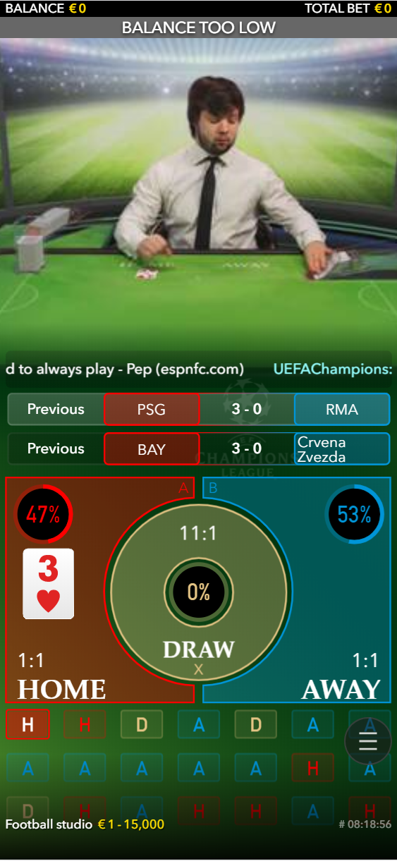 Football Studios being played live with a mobile at an online casino
