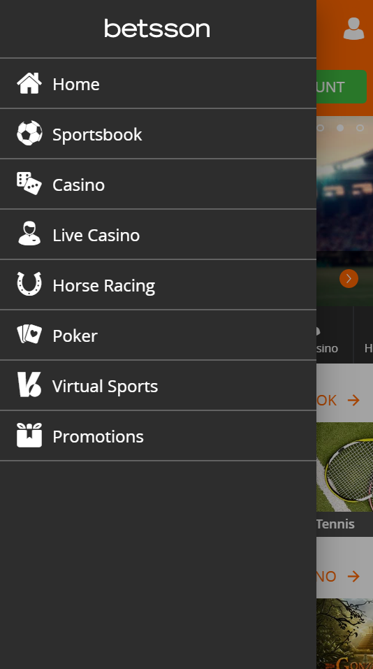 The main menu at Betsson when you access their homepage with a mobile