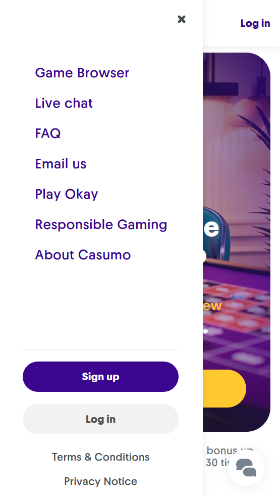 The main menu at Casumo, showing you where to find the live chat.