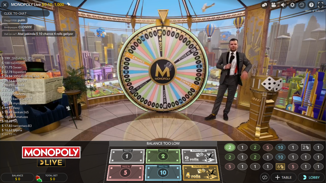 Monopoly Live being played live at the online casino 1xBet