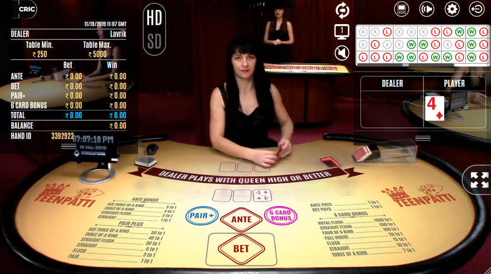 The popular Indian card game Teen Patti being played live at 10CRIC.