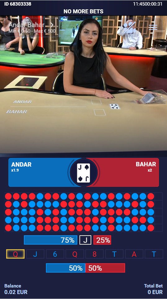 Andar Bahar being played live at the online casino 1xBet on a mobile