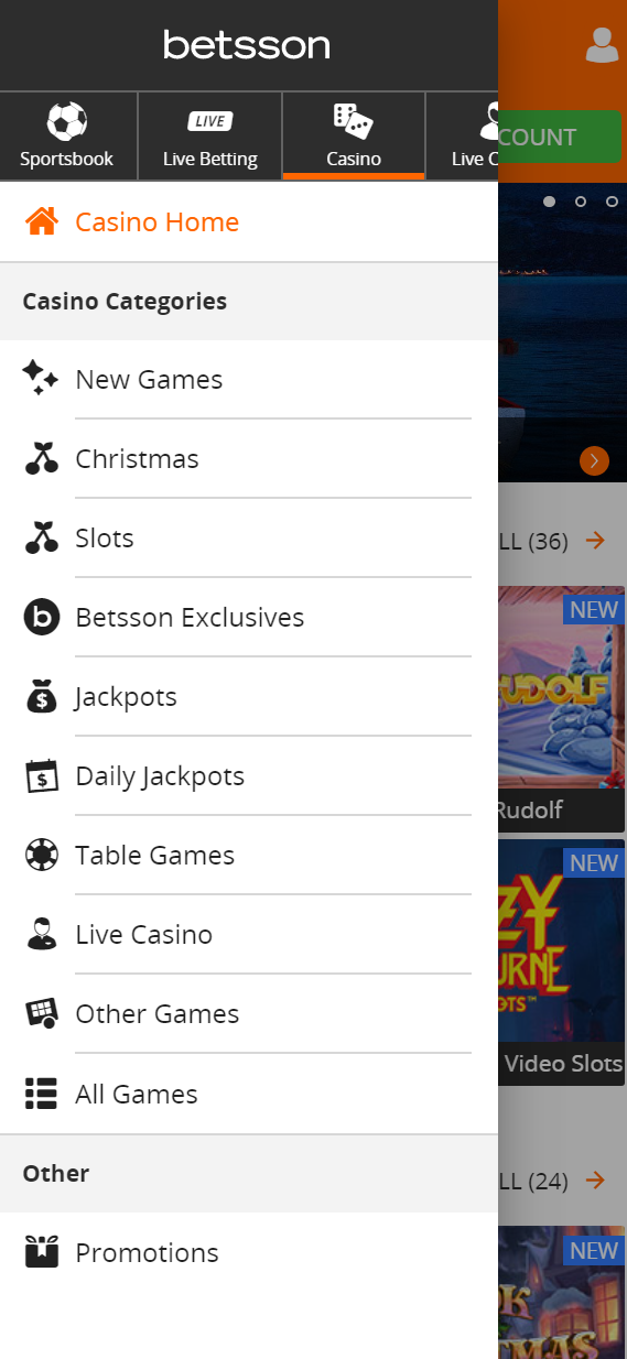 The casino menu at Betsson when accessing the site with a mobile