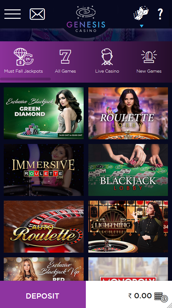 Genesis Casino has a comprehensive game library