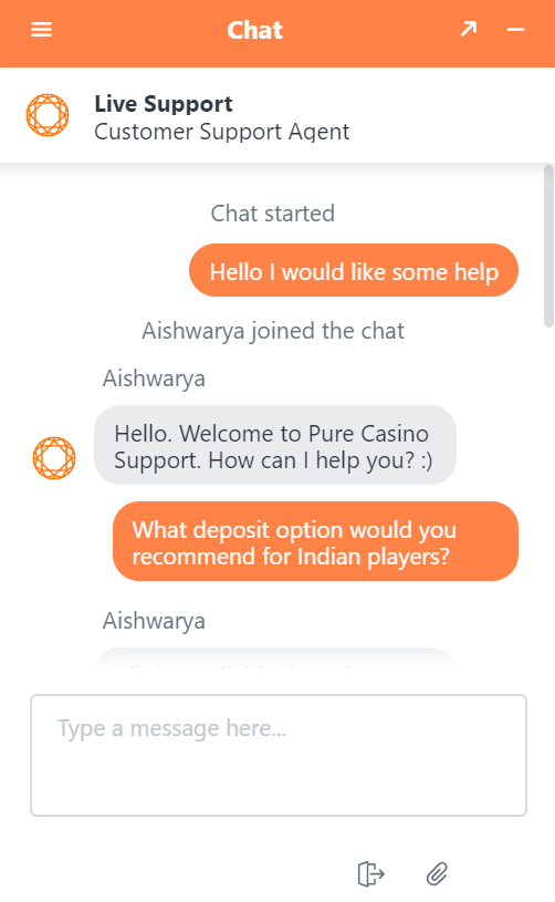 The live chat is great at Pure Casino, unfortunately it's not available 24/7