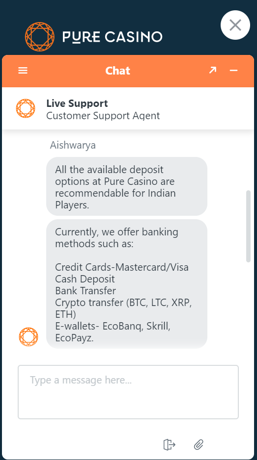 All the banking methods players from India can use at Pure Casino