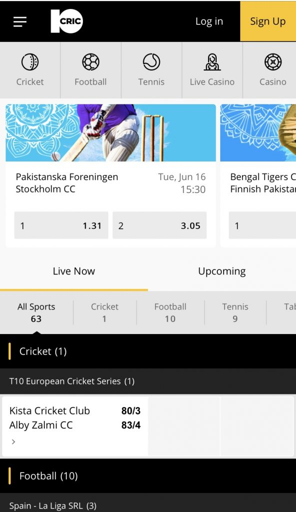 Live betting section at 10CRIC shown on a mobile