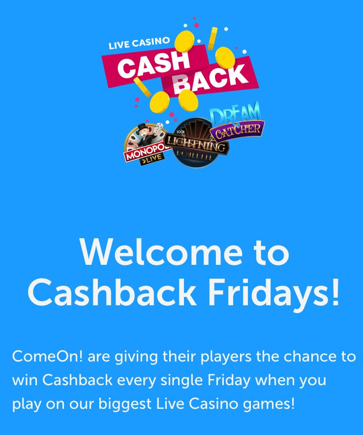 ComeOn CashBack Fridays