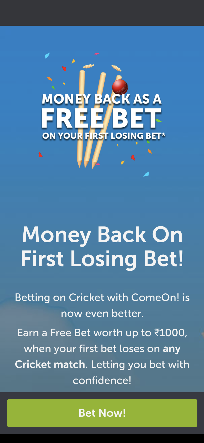 ComeOn Money Back As Free Bet Offer
